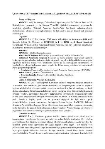Çukurova Üniversitesi Bilimsel Araştırma Projeleri Yönergesi
