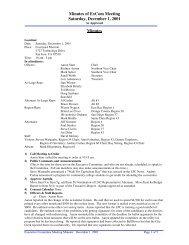 Minutes of ExCom Meeting Saturday, December 1, 2001 Minutes