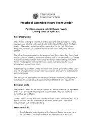 Preschool Extended Hours Team Leader - International Grammar ...