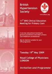 British Hypertension Society Clinical Education Meeting for Primary ...