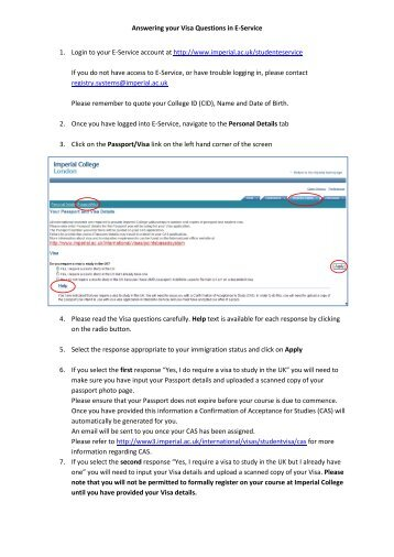 Answering your Visa Questions in E-Service 1. Login to ... - Workspace