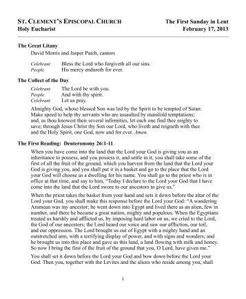 2013-02-17 eucharist - St. Clement's Episcopal Church