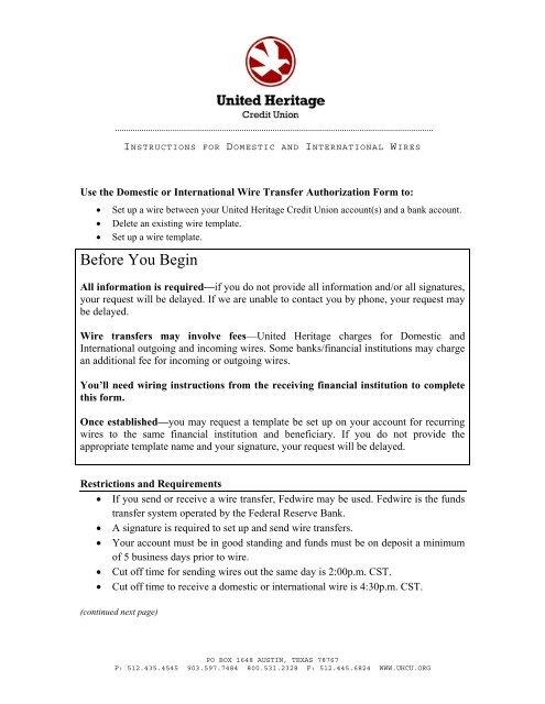 Wire Transfer Form Directions International Uhcu