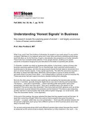 'Honest Signals' in Business - Human Dynamics Group - MIT