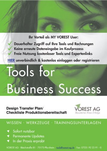 Design Transfer Plan / Report DIN EN ISO 13485 - Vorest AG