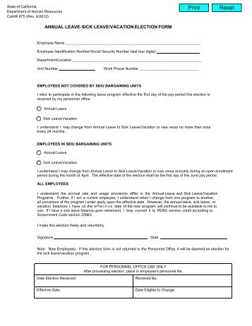Vacationpersonal leave form administratorsclassified staff annual leave sick leavevacation election form state of california thecheapjerseys Images