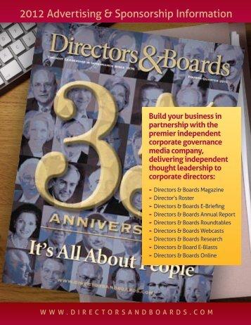 2012 Advertising & Sponsorship Information - Directors & Boards