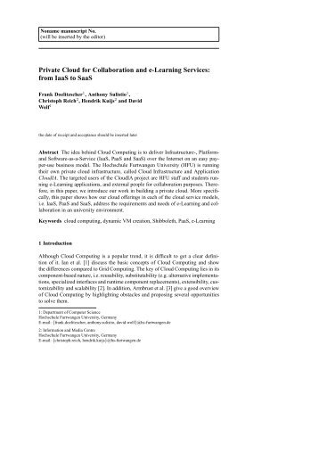 Private Cloud for Collaboration and e-Learning Services: from IaaS ...