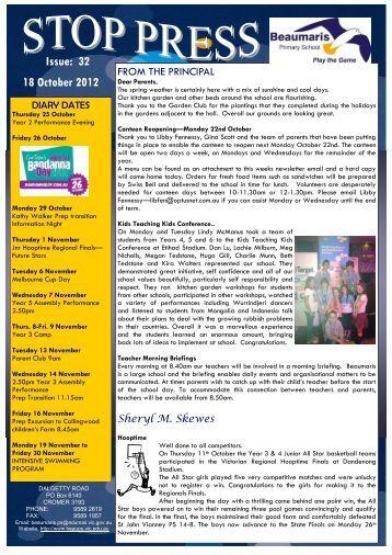 Issue: 32 18 October 2012 - Beaumaris Primary School
