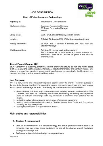 JOB DESCRIPTION About Bowel Cancer UK Job Purpose Main ...