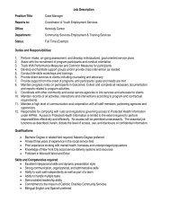 Job Description Position Title: Case Manager Reports to - Catholic ...