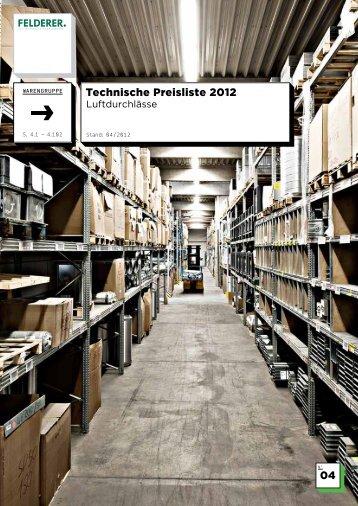 04 Technische Preisliste 2012 - Felderer