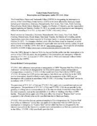 United States Postal Service Interruption and Emergency under 35 ...