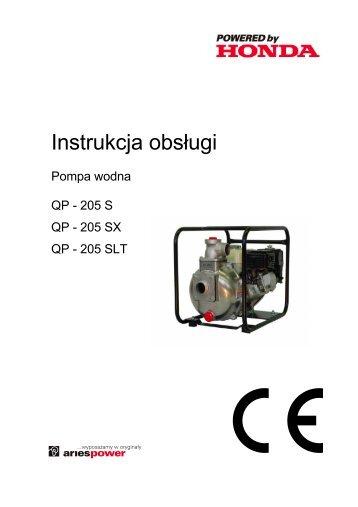 Instrukcja obsÃ…Â'ugi pompy Honda QP-205SLT - pdf [644.23 kB] - Wobis