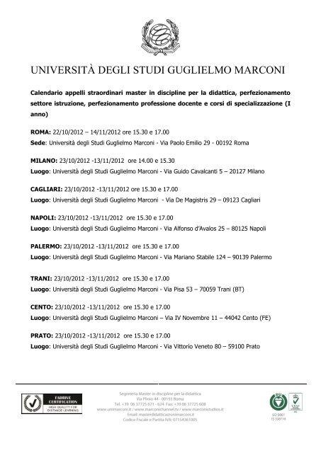Calendario Esami Unimarconi.Clicca Qui Per Scaricare Il Calendario Esami Universita