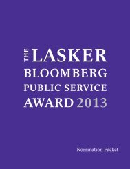 lasker award 2013 th e public service bloomberg - The Lasker ...