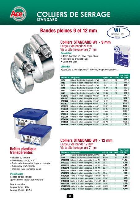 Collier /à tourillons standards W1 Ace Diam/ètre 56-59 mm Vendu par 10