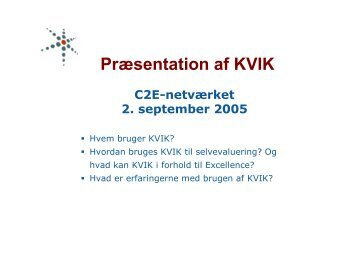KVIK-modellen og C2E-anerkendelsen - SCKK