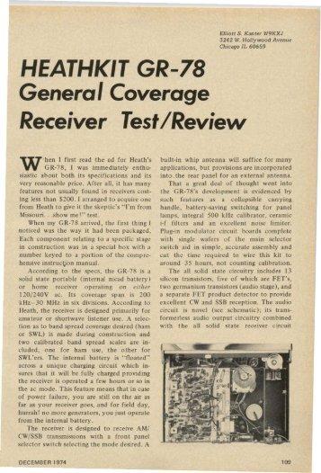 Heathkit GR-78 - Nostalgic Kits Central