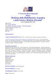 V Corso di Alta Formazione Master Medicina della Riabilitazione ...