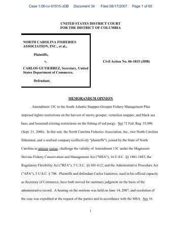 Judge's Opinion on Snapper Grouper Amendment 13C ... - SAFMC.net