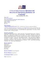 Soccorso in Emergenza Sanitaria e di Comunità - Consorzio ...