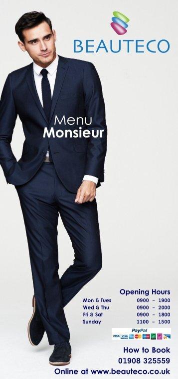 Menu Monsieur Menu Monsieur - Beauteco