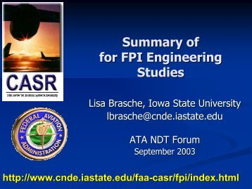ATA NDT Forum - Status Presentation - September 2003 - Center for ...