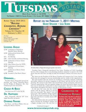 Guest Speaker Lisa Sorin & 2/8/11 - Bronxrotaryclub.org