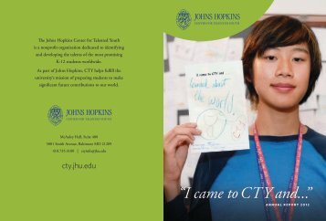 """""""I came to CTY and..."""" - Johns Hopkins Center for Talented Youth ..."""
