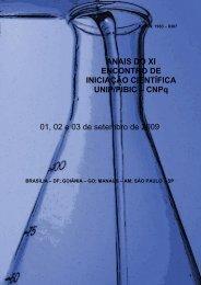 Anais do XI Encontro de Iniciação Científica UNIP/PIBIC-CNPq 2009