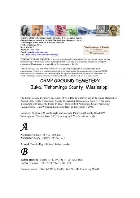 CAMP GROUND CEMETERY Iuka, Tishomingo County, Mississippi