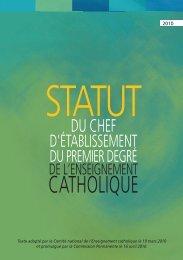 Le statut du chef d'établissement. - ECA - Enseignement catholique ...