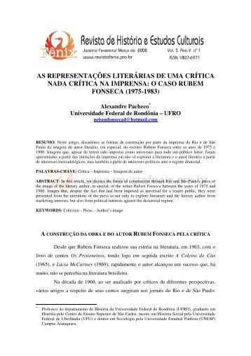 o caso rubem fonseca - Revista de História e Estudos Culturais