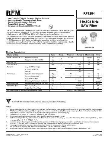 319.508 MHz SAW Filter RF1284 - RF Monolithics, Inc.