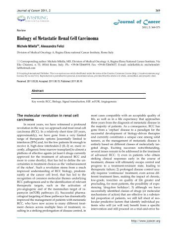 Biology of Metastatic Renal Cell Carcinoma - Journal of Cancer