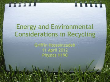 Energy and Environmental Considerations in Recycling