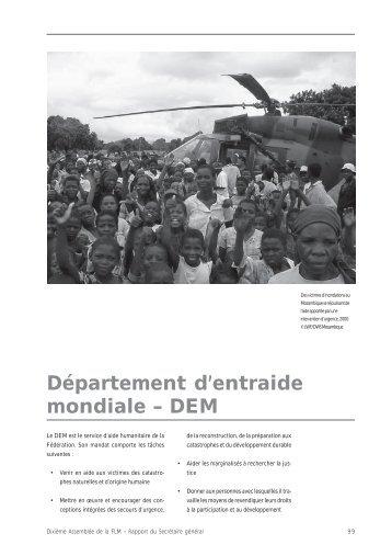 Département d'entraide mondiale – DEM - LWF Tenth Assembly 2003