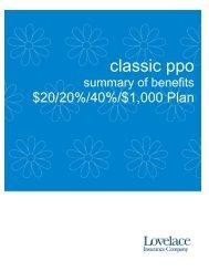 Classic PPO $20/20%/40%/$1000 - Lovelace Health Plan