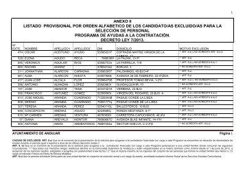 LISTADO DE EXCLUIDOS ANEXO II - Ayuntamiento de Andújar