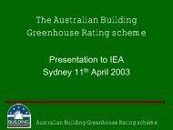 The Australian Building Greenhouse Rating scheme