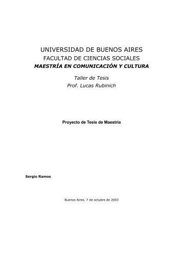 MAESTRÍA EN COMUNICACIÓN Y CULTURA Taller de Tesis Prof ...