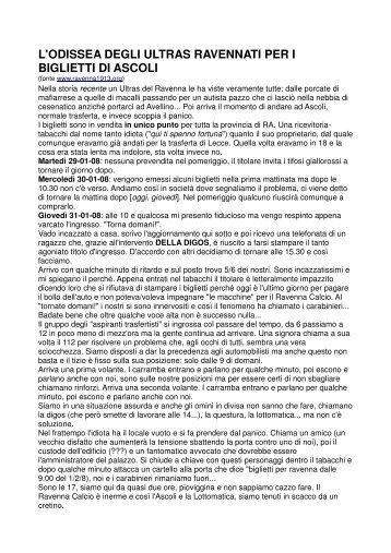 ODISSEA PER I BIGLIETTI DI ASCOLI-RAVENNA del 2/2/08