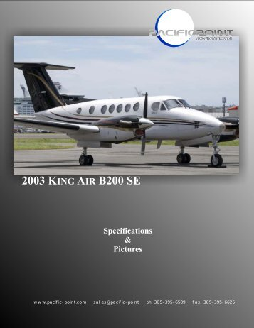 2003 KING AIR B200 SE Pictures - Pacific Point Aviation