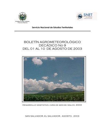 BOLETÍN AGROMETEOROLÓGICO DECÁDICO No 9 DEL 01 AL 10 ...