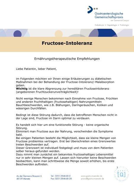 fructoseintoleranz tabelle