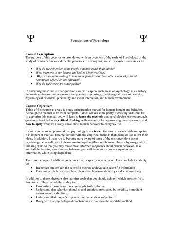Foundations of Psychology Course Description Course Objectives