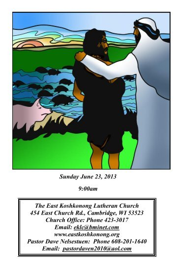 Sunday, June 23, 2013 - Eastkoshkonong.org
