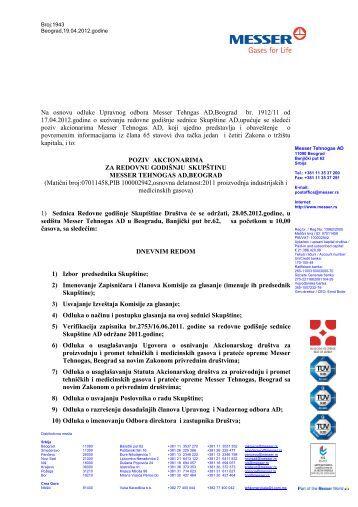 Na osnovu odluke Upravnog odbora Messer Tehngas AD Beograd ...