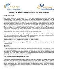 GUIDE DE RÉDACTION D'OBJECTIFS DE STAGE